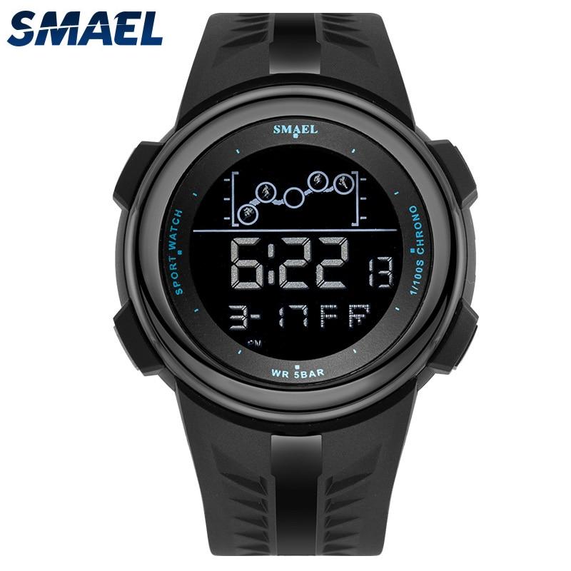 Relojes SMAEL para hombre Esfera Grande reloj electrónico LED resistente al agua de 50M reloj de pulsera Digital militar para hombre reloj deportivo Relogio