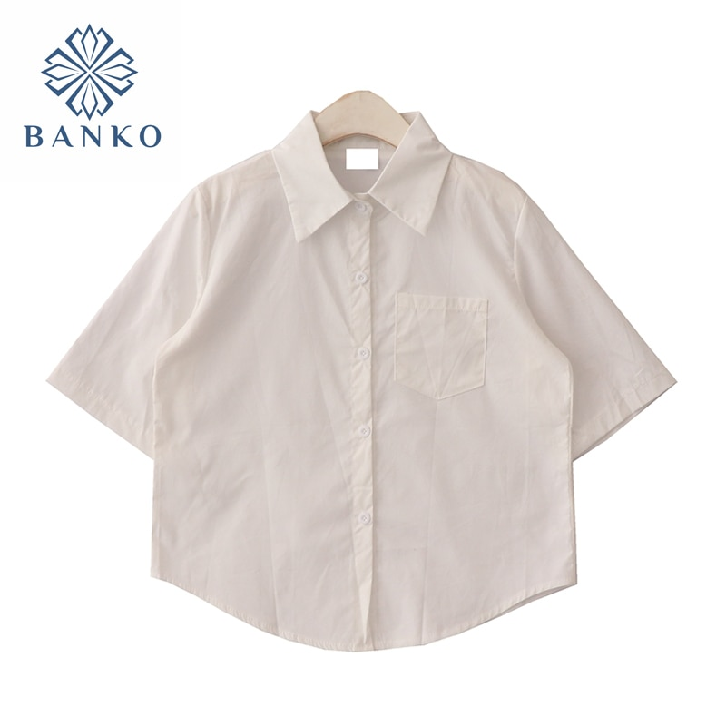 2021 Summer New Streetwear Fashion Polo Collar Basic Women Blouse All-mach Short Sleeve Single Breas