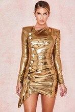 Simly Tara 2019 Fashion Female Bodycon Party Dress Vestidos Winter Women Long Sleeve Button Bronzing Gold Mini Bandage Dress