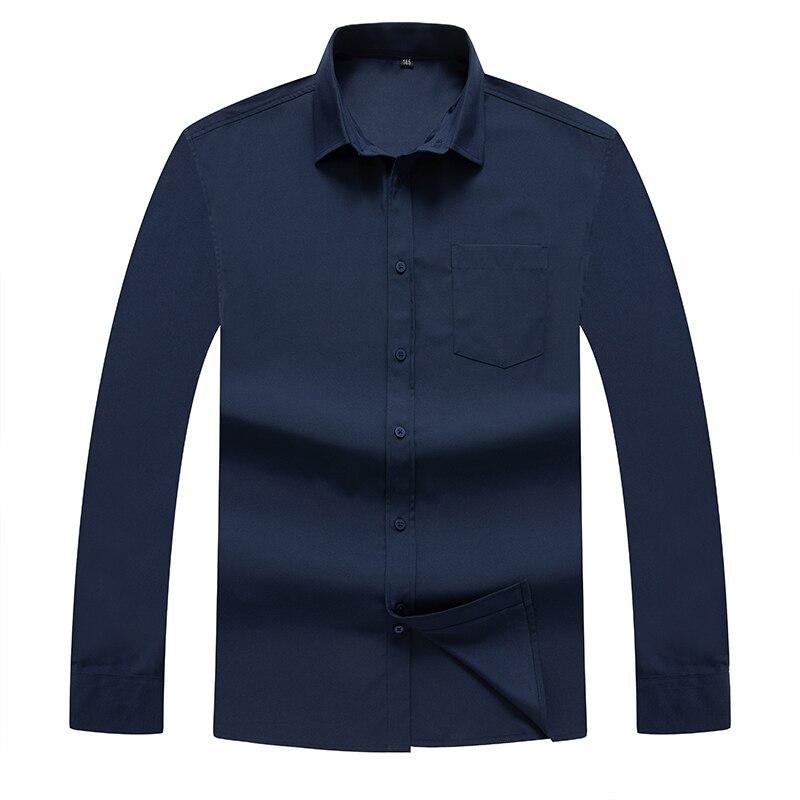 Однотонные рубашки с длинным рукавом, модные мужские деловые формальные повседневные хлопковые облегающие рубашки с карманами размера плю...