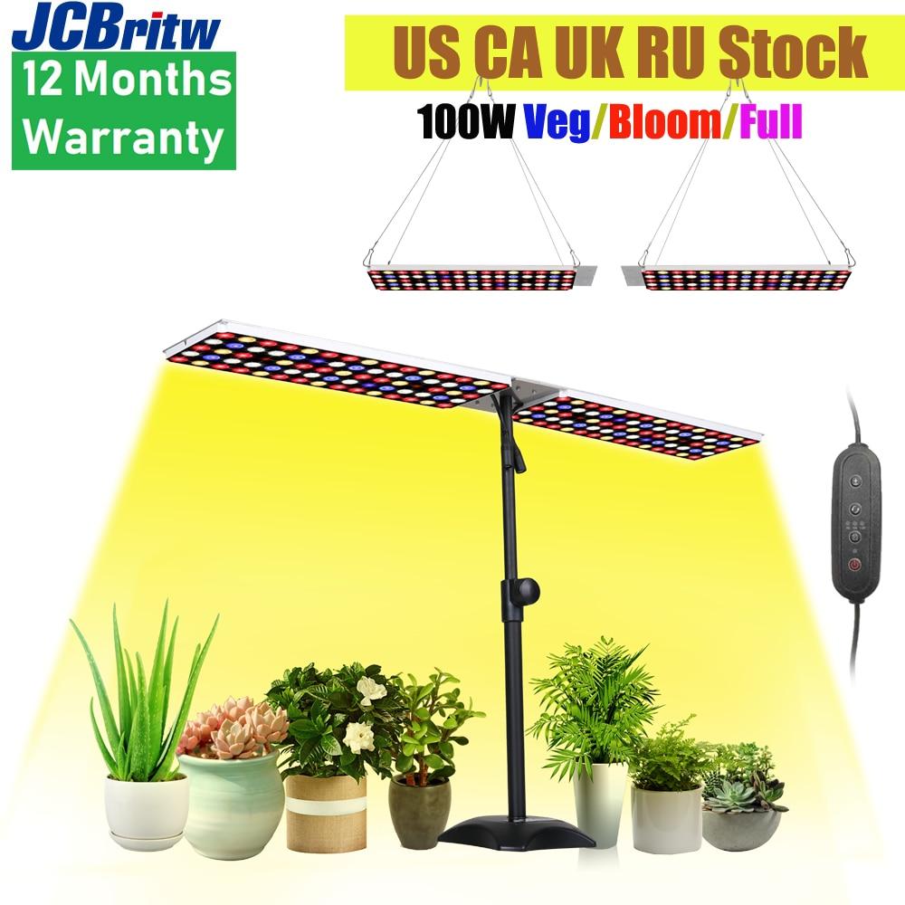JCBritw 100 واط LED تنمو ضوء مع حامل أبيض أحمر أزرق كامل الطيف مكتب قابل للتعديل الجدول تزايد مصباح عكس الضوء مع الموقت