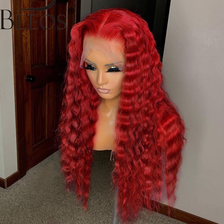 Deep Wave Red Lace Frontal Human Hair Wigs Kinky Curly Burgundy 99J 13X6 HD Transparent Lace Front Wig PrePlucked Bleached Knots