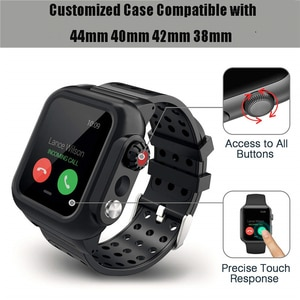 For Apple Watch Waterproof Case Rugged Cover Silicone Watch Band For Apple Watch 6 5 4 3 2 1 SE For iWatch 44mm 40mm 42mm 38mm