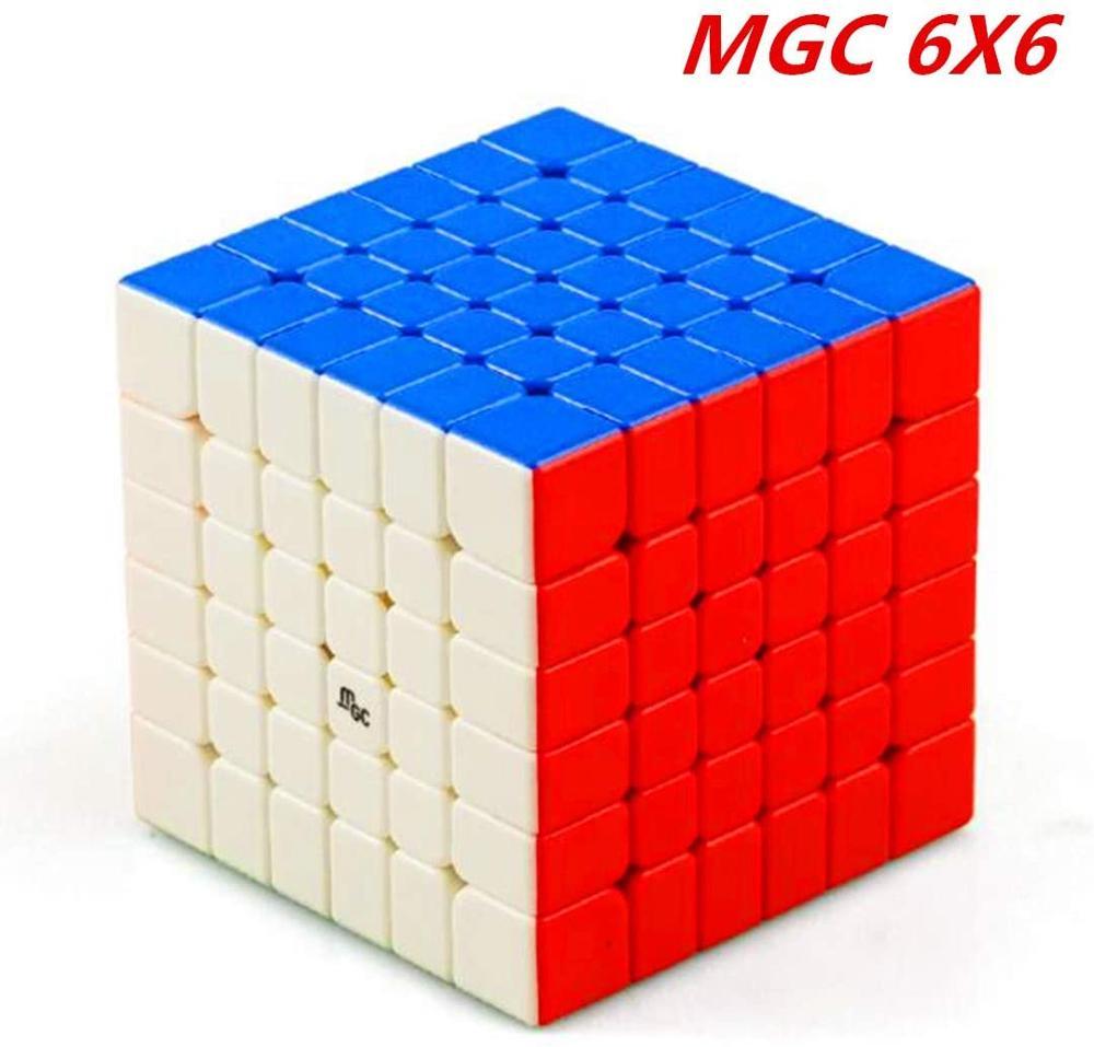 Cuberspeed yj mgc 6x6 m cubo de velocidade sem cola mgc magnético 6x6x6 cubo mágico quebra-cabeça