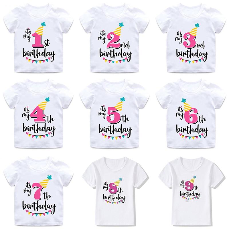 INPEPNOW, camiseta de feliz cumpleaños para niños, Camiseta de algodón para niños, camiseta blanca, camiseta para niñas, camiseta de princesa para niños, DX-BS16