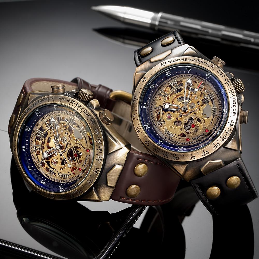 Leather Mechanical Watch Men Automatic Steampunk Watch Mens Skeleton Watches Bronze Transparent Vintage Sport Wristwatch Male enlarge