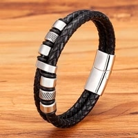 retro style double stitching combination small accessories stainless steel mens leather bracelet promotional price for gift