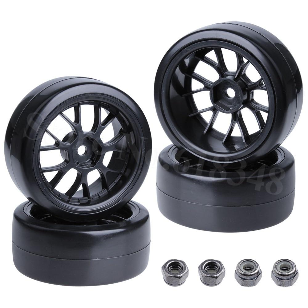 4PCS Hard Plastic 12mm Hex RC 1/10 Drift Tires and Wheels for Tamiya Sakura HPI HSP Redcat RC Models