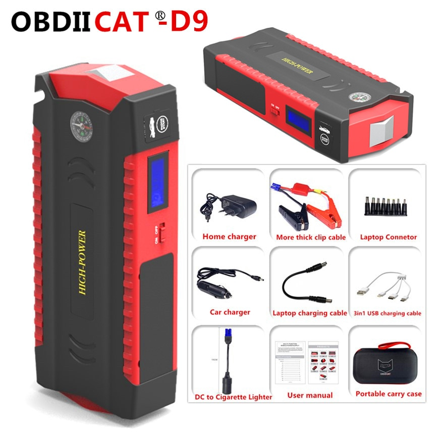 OBDIICAT D9 سيارة الانتقال كاتب بدء جهاز بطارية قوة البنك 600A السيارات المغفل الطوارئ الداعم شاحن سيارة الداعم