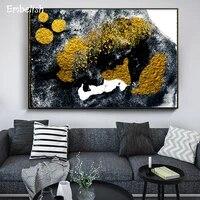 Affiches murales a la mode nordique  1 piece  peintures dorees pour salon  affiches de decoration moderne pour la maison  peintures sur toile imprimees HD