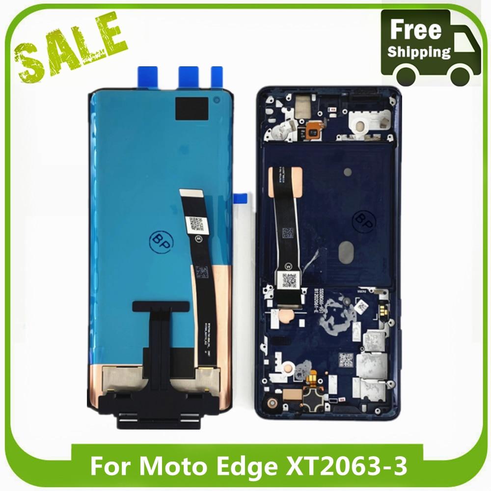 اختبار الأصلي LCD لموتورولا حافة 5 جرام LCD عرض محول الأرقام الجمعية الأسود شاشة تعمل باللمس الأصلي ل موتو حافة XT2063-3
