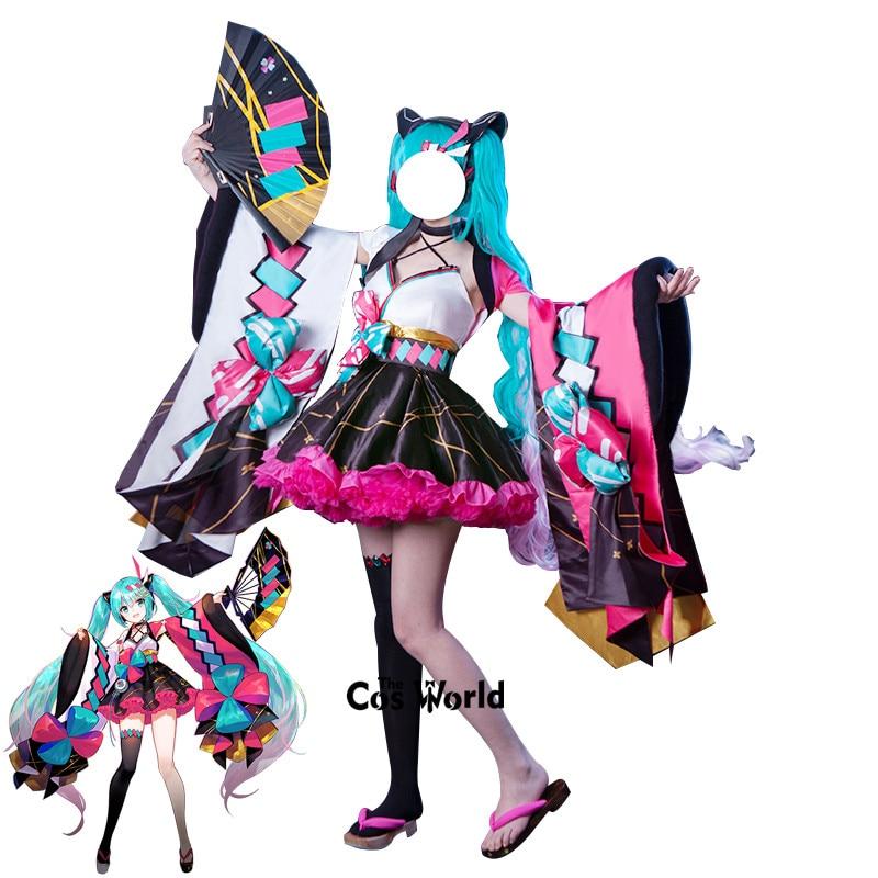 2020 vocaloid mágico mirai hatsune miku festival de verão yukata kimono topos vestido roupa anime fantasias cosplay