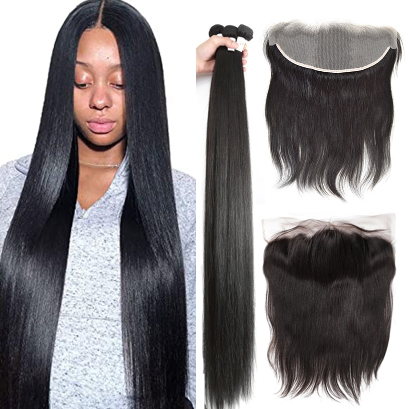 13x4 Lace Frontal Closure With Bundles 32 34 38 40 Inch Straight Human Hair Bundles With Frontal Ear To Ear Brazilian Remy Hair