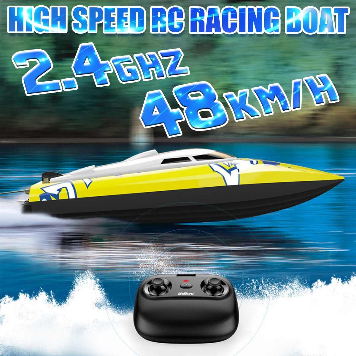 قارب سباق بدون فرش يتم التحكم فيه عن بعد للأطفال ، لعبة قارب إلكترونية عالية السرعة ، 48 كم/ساعة ، 2.4 جرام