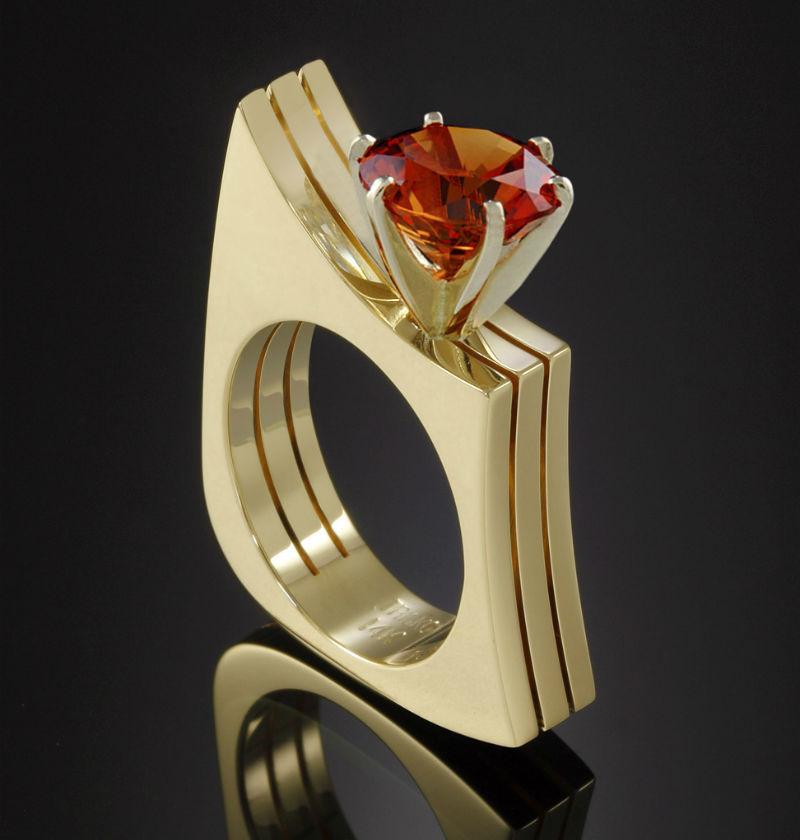 CZ Anéis de Casamento de luxo Lindo Ouro Amarelo Cor Vermelho Anel de Zircão Cúbico para As Mulheres Três Camadas Anel de Dedo Anillos Mujer Z3T241