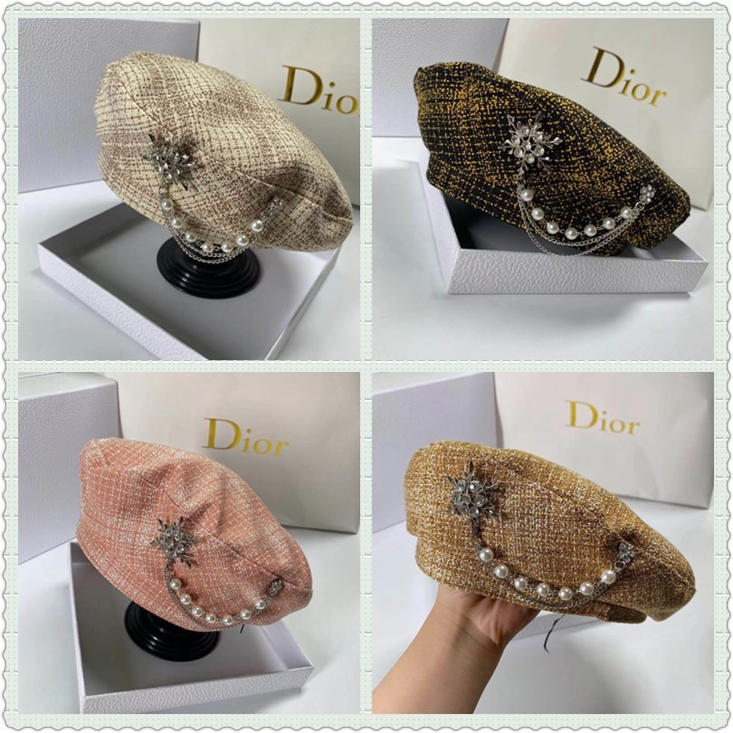 Luxury Diamond Decoration Beret Hat for Women French Designer Baret Cap with Pearls Embellishment Plaid Painter Octagonal Hats