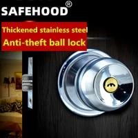 free shippingspherical door lock stainless steel double ring interior room door lock access lock with key bathroom bathroom
