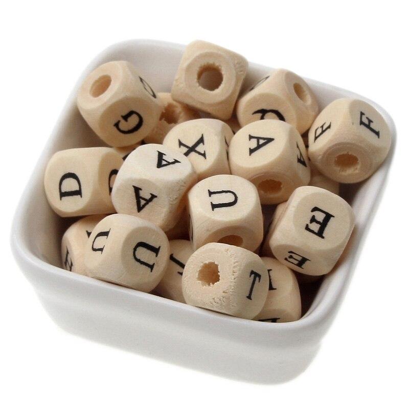 50 pçs 10mm quadrado alfabeto de madeira contas para diy bebê mordedor suave crianças pulseira colar jóias fazendo