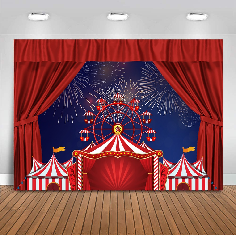 Circus Backdrop for Photo Studio Ferris Wheel Birthday Party Background Blue Night Stripes Stars Circus Party Backdrops for Kids