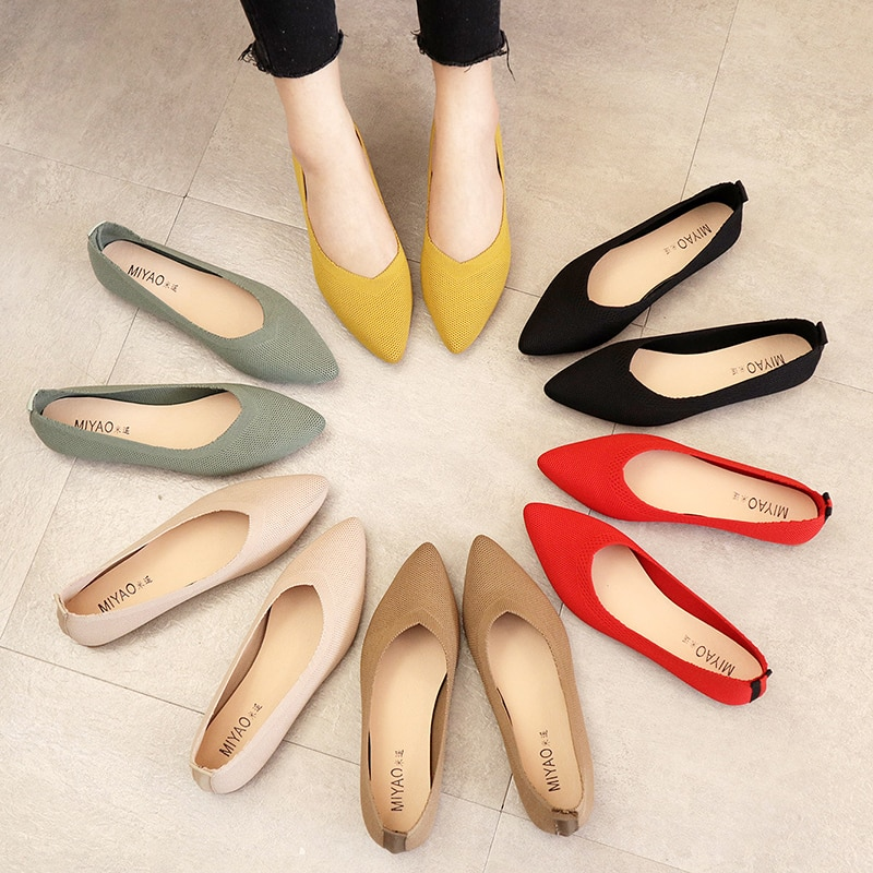 2021 women's flat shoes ballet shoes breathable knitted pointed shoes mixed color women's soft shoes