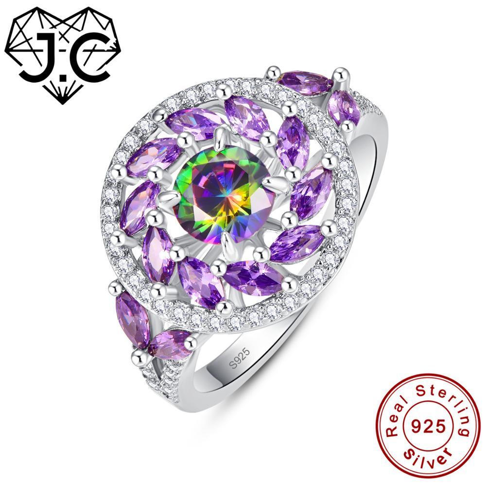 J. C redondo y marquesina corte Topacio blanco y Arco Iris místico y amatista anillo de Plata de Ley 925 tamaño 6 7 8 9 joyas de cóctel para mujer