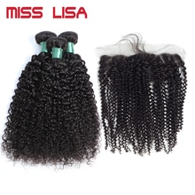 MISS LISA Kinky Curly Bundles With 13*4 Lace Frontal Non-Remy Peruvian Human Hair Weave Bundles With Frontal Hair Extension