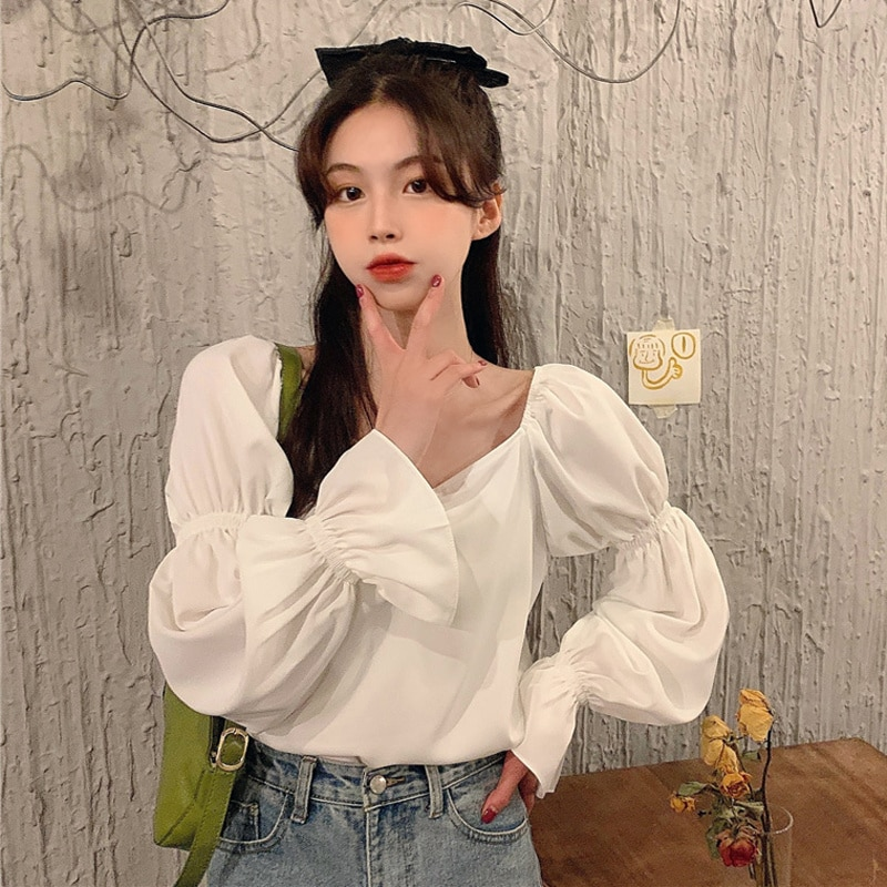 Women Shirt Chiffon Lantern Sleeve Shirt Autumn 2021 New Design Sense Temperament Square Collar Exposed Clavicle Long Sleeve