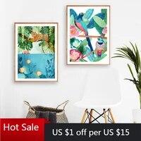 Affiches et imprimes de tigre Jungle  decoration murale abstraite coloree doiseaux et de poissons  toile dart  tableau  decoration de salle de maison esthetique