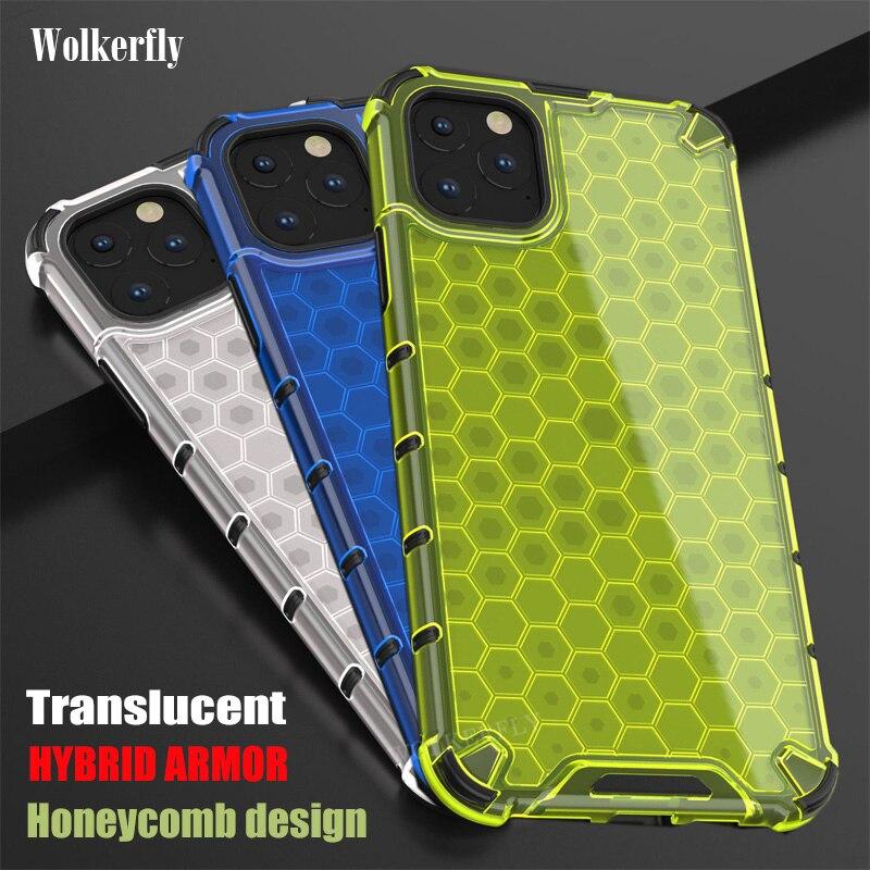 Funda híbrida armadura para iPhone 11 X XR XS Max Honeycomb para iPhone 7 8 6 6s plus funda transparente para iphone 11 Pro Max