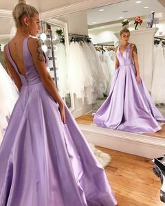 Vkbridal Sexy Double V-Neck Satin Prom Dresses with Pockets Long A-Line Lavender Party Dresses Formal Evening Gowns for Women