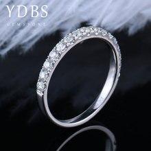Ydbs moissanite 약혼 반지 진짜 14k 585 화이트 골드 웨딩 밴드 여성 기념일 경기 밴드