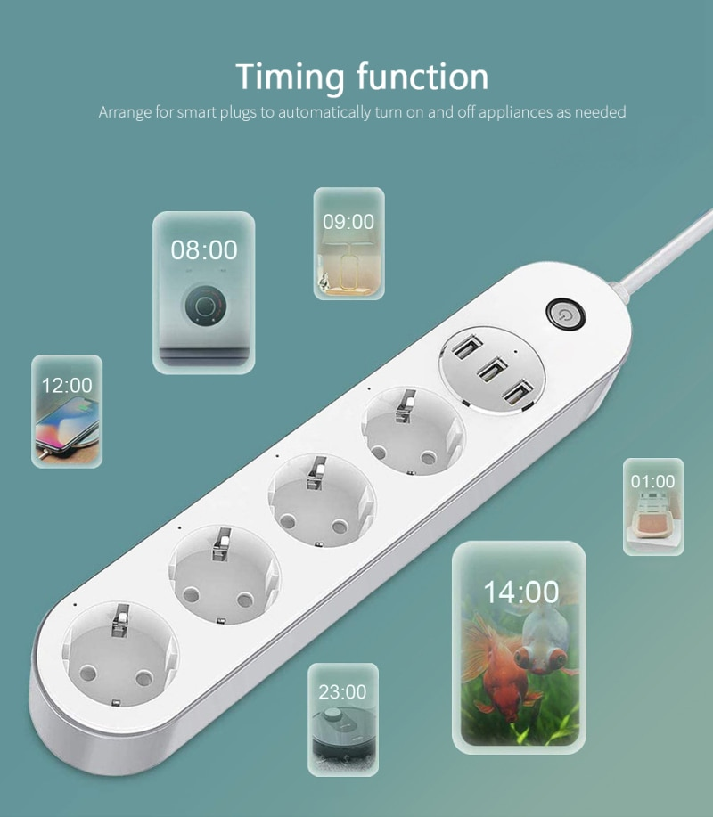 Wifi Smart Power Strip 4 EU Outlets Plug with 3 USBCharging Port Timing App Voice Control Work with Alexa Google Home Assistant