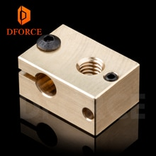Bloque calentador de cobre y latón DFORCE 1 unidad para Extremo de cobre E3D para impresora 3D de alta temperatura para boquillas de acero endurecido V6