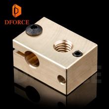 DFORCE 1 pièce cuivre laiton bloc chauffant pour E3D cuivre hotend pour imprimante 3D haute température pour acier trempé V6 buses
