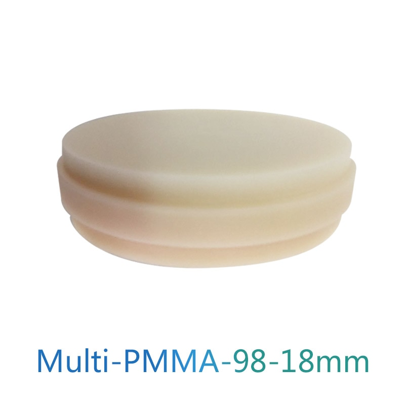 98x18mm Multilayer Acrylic PMMA Dental CADCAM Blocks/PMMA Multilayer Disc Denture Prosthetics Temporary Crowns And Bridges 10cans bag dental denture flexible acrylic with blood streak for flexible partial denture
