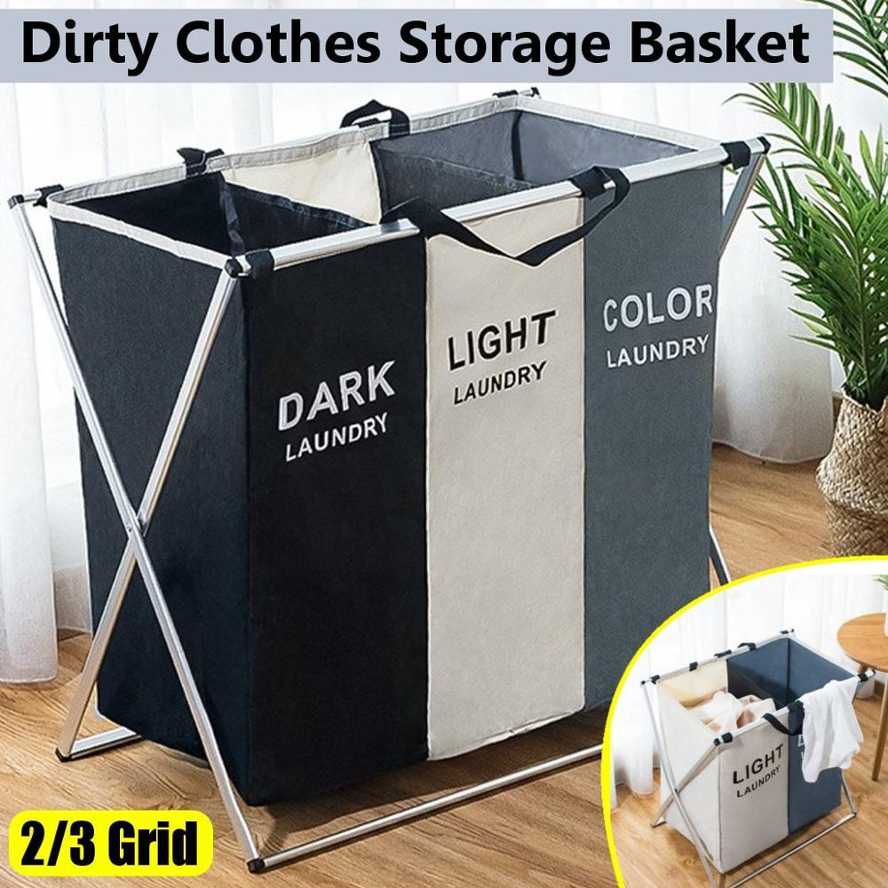 X-shape Collapsible Dirty Clothes Laundry Basket 2/3 section Foldable Organizer Dorm Laundry Hamper Sorter Washing Laundry Bag