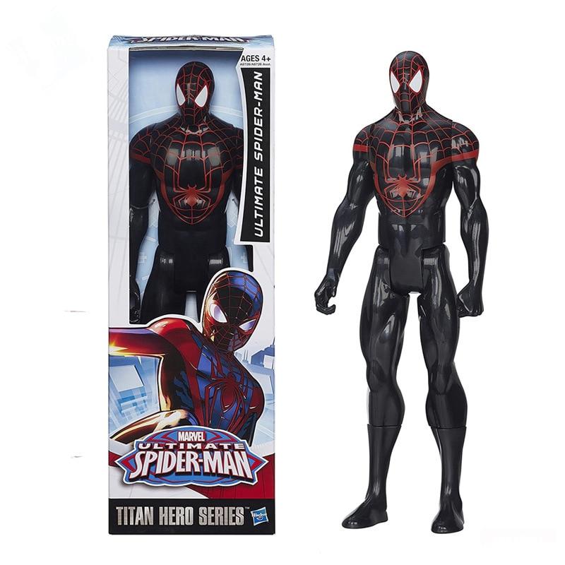 28Cm Marvel Ultimate Black Spider-Man Action Figures Dolls Toy Cartoon Spider Man Figures Model Collection Decoration Boys Gift