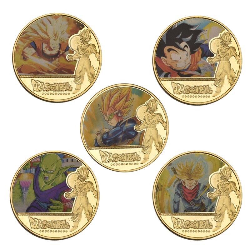 WR, Dragon Ball Z, Goku, colección de monedas chapada en oro con soporte para moneda, juego de monedas de desafío japonés, regalo Original, triangulación de envíos