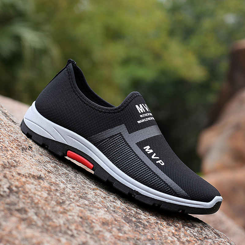 Zapatos deportivos de talla grande para hombre, zapatillas negras de malla, transpirables,...