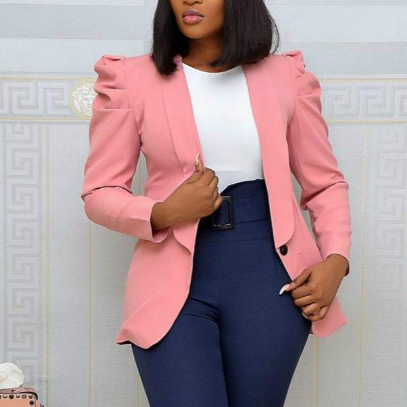 المرأة السترة مكتب السيدات أنيقة أبلى طويلة الأكمام ملابس العمل أنيق الإناث الوردي دعوى الأفريقية متواضع حجم كبير الخريف الموضة