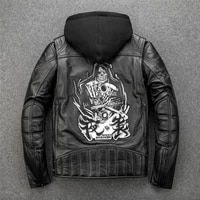 mens genuine leather jacket cowhide thick bull hide embroidery motorcycle jacket motor bicycle clothing