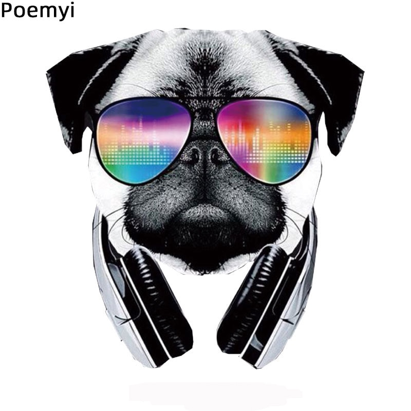 Poemyi Animal Patches For Clothing Cool Dog With Sunglasses Iron On Transfer Stickers For T-Shirt Ec