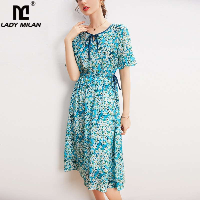 100% الحرير فساتين حريمي س الرقبة قصيرة الأكمام الدانتيل يصل الخصر الأزهار المطبوعة فستان صيفي أنيق Vestidos