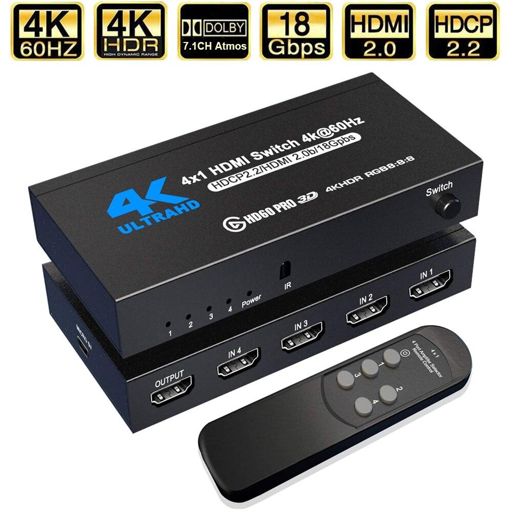 Interruptor HDMI 4K 2021, compatible con RGB 4:4:4, HDR, 4K, 60Hz, HDMI...