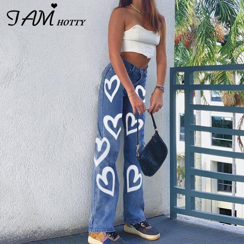 Heart Printed Y2K Straight Mom Jeans Women Harajuku Baggy High Waist Denim 90s Korean Joggers Streetwear Trousers Black Iamhotty