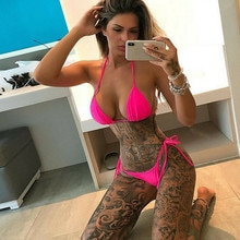 Frauen Halter Triangle Bikini Set Sexxy Push-Up Gepolsterter Bh Badeanzug Bademode Einfarbig Spitze Up Tanga Beachwear-badeanzug