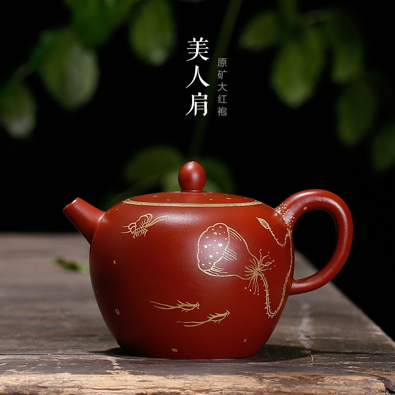 ينصح خام dahongpao الجمال الكتف أصيلة الذهب الطلاء جميع رسمت باليد لوتس إبريق الشاي الشركات المصنعة الكبيرة