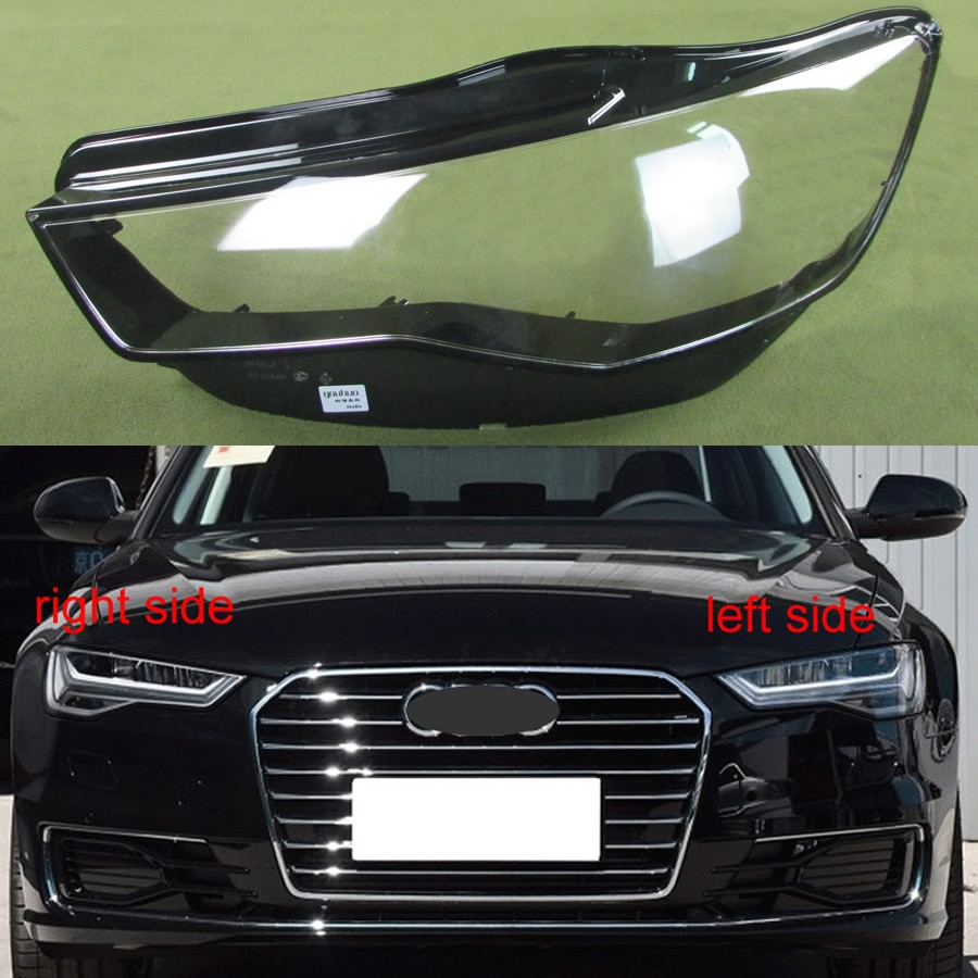 Farol transparente capa abajur farol lente escudo do farol lâmpada de vidro para audi a6l c7 2016 2017 2018