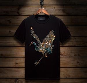 Hot drill high quality short-sleeved men's round neck T-shirt 2020 new top tees man Diamond T-shirt