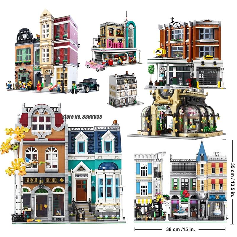 MOC Creator Expert City Street View, 2524 шт., европейский стиль, книжный магазин, модель, строительные блоки, комплект кирпичей, совместимый с lepines 10270